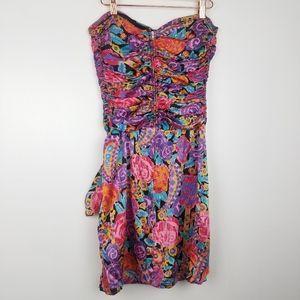 Vintage | 100% Silk Strapless Colorful Dress 1980s
